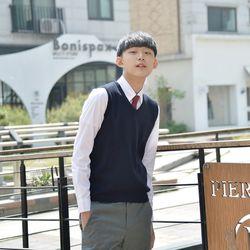 [빅사이즈] 보풀방지 네이비 교복조끼(남자) 4XL