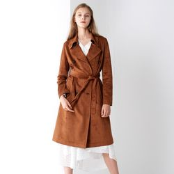 SUEDE DOUBLE TRENCH COAT BROWN