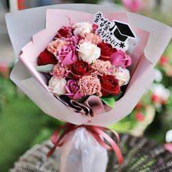 파스텔 로즈 픽 꽃다발 - 장미 드라이플라워 목화 졸업식 축하