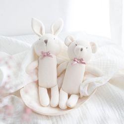 오가닉 딸랑이 2P(토끼와 곰)