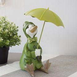 그린 우산 우비 오리