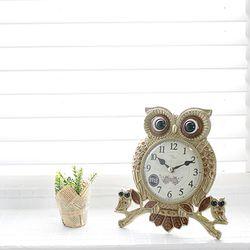 앵두부엉이탁상시계(골드)