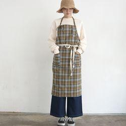 khaki check apron