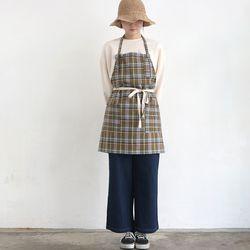 khaki check short apron