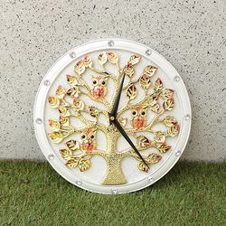 무소음벽시계 골드도금 돈나무부엉이 CWA001WH 인테리어벽시계