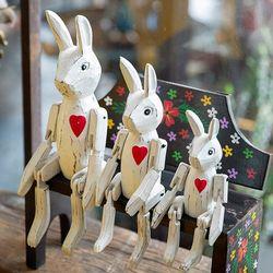 빈티지 목각 토끼 인형 3p set (4type)
