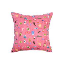 동물원 쿠션 커버 (핑크)