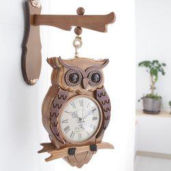 빈티지우드 부엉이양면벽시계