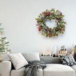 스노우 클래식 솔가지 솔방울 크리스마스 리스 50cm