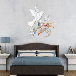 비진 평화의비둘기 미러 벽장식 스티커