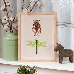 [패브릭피쉬] 원목 음양각 액자 곤충(L)