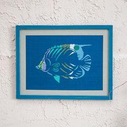 [패브릭피쉬] 원목 음양각 액자 물고기(L)