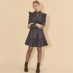 Denim Ruffle Mini Dress