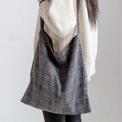 [ZIUM] W-16 롱체크 캔버스백 여성가방 핸드백 패딩가방