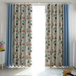 인디언 부엉이 암막커튼 블루 패턴 2폭+무지 2폭 560x230cm