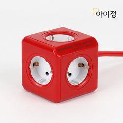 파워큐브 올컬러 5구 1.5M 레드 멀티탭 콘센트