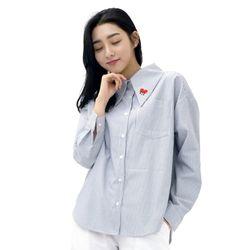 Lovely M Stripe Long-collar Shirt (NAVY)