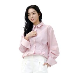Lovely M Back Embroidery Stripe Shirt (PINK)