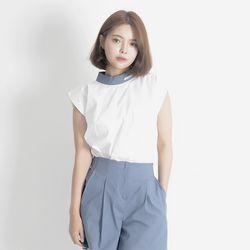 Linen Sleeveless Shirt (BLUE)