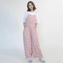 Cotton Check Long-wide Jumpsuit (PINK)