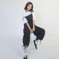 Cotton Check Long-wide Jumpsuit (BLACK)