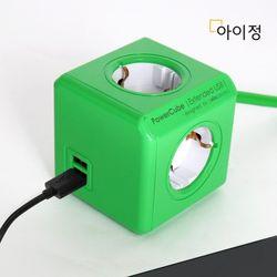 파워큐브 올컬러 USB 4구 1.5M 그린 멀티탭 콘센트