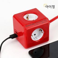 파워큐브 올컬러 USB 4구 1.5M 레드 멀티탭 콘센트