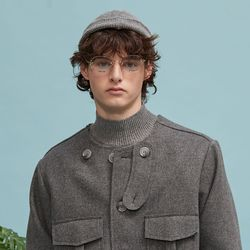 no collar half coat (gray)