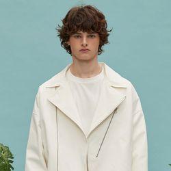 oversize cotton rider jacket (white)