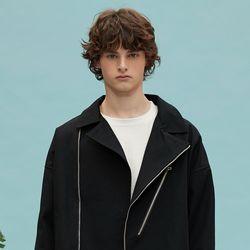 oversize cotton rider jacket (black)