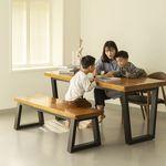 뉴송 우드슬랩 통원목 8인 테이블 일체형 철재 프레임 2200