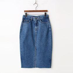 Denim Slit Skirt - New