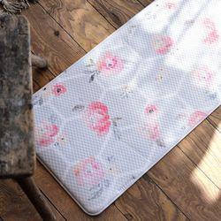 핑크플라워 쿠션 주방매트 M