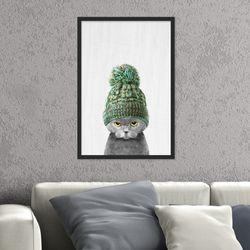 귀여운 초록 목자를 쓴 고양이 동물 작품 인테리어 그림액자