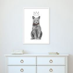 흑백 왕관을 쓴 귀여운 고양이 동물 작품 인테리어 그림액자