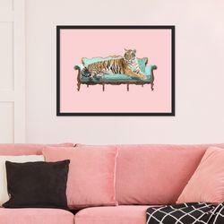 이쁜색감 핑크 배경 호랑이 동물 작품 인테리어 그림액자