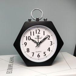 퀴리 무소음 육각 탁상시계(블랙)