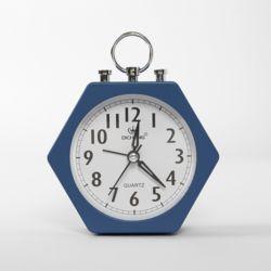 퀴리 무소음 육각 탁상시계(블루)