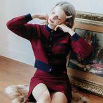 Heart Line Knit Cardigan Knit Skirt SET (와인)