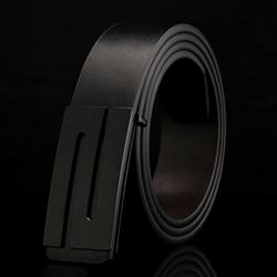 스톤라인 블랙로고 가죽 벨트(130cm)