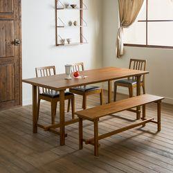 로사 원목 4인용 6인용 다이닝 식탁 세트(의자 3개+벤치 1개)