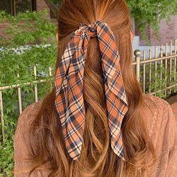 에스더 체크 리본 곱창 머리끈