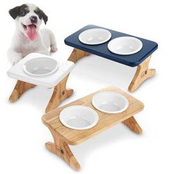 원목 애견식기 반려동물 식탁1구 도자기식기 세트(식기포함)