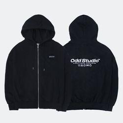 [사은품 증정] 스탠다드 집업 로고 티셔츠 - BLACK
