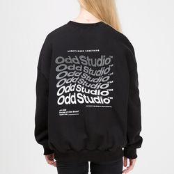 [스티커팩증정] 웨이브 맨투맨 티셔츠 - BLACK