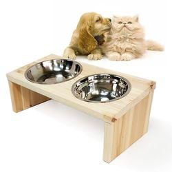 그로우 원목애견식탁 원목식탁 2구 강아지 고양이 밥그릇