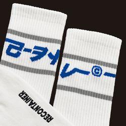 gray line socks (white)