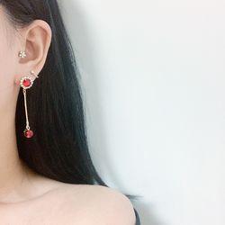 레드 애플 롱 드롭 보석 귀걸이