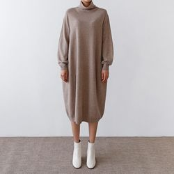Laine Cashmere Wool Coccon Turtleneck Dress