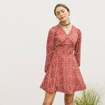 V-NECK FLARE ONEPIECE(RED)